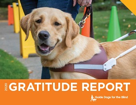 The cover of GDB's Gratitude Report, featuring a smiling yellow Lab guide dog.