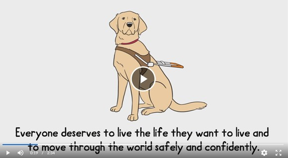 A sketch of a guide dog wearing a harness. Underneath the dog are the following words: Everyone deserves to live the life they want to live and to move through the world safely and confidently.