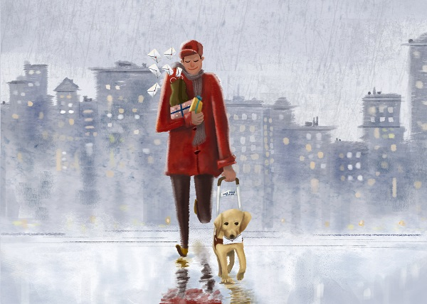 Artwork by JR Quevedo of a person walking with a guide dog on a winter day