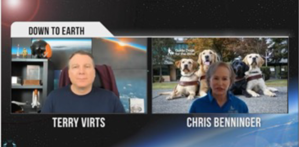 Terry Virts and Christine Benninger appear side by side on a Zoom screen
