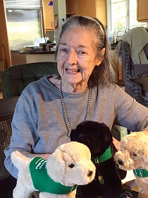 Leslys Garrow Vedder poses for a photo surrounded by three plush guide dog puppies wearing green GDB training vests.